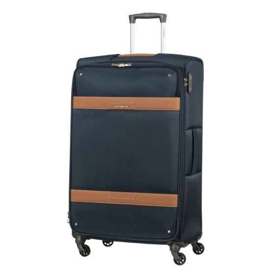 Samsonite CADELL kék-konyak négykerekű bőrönd L