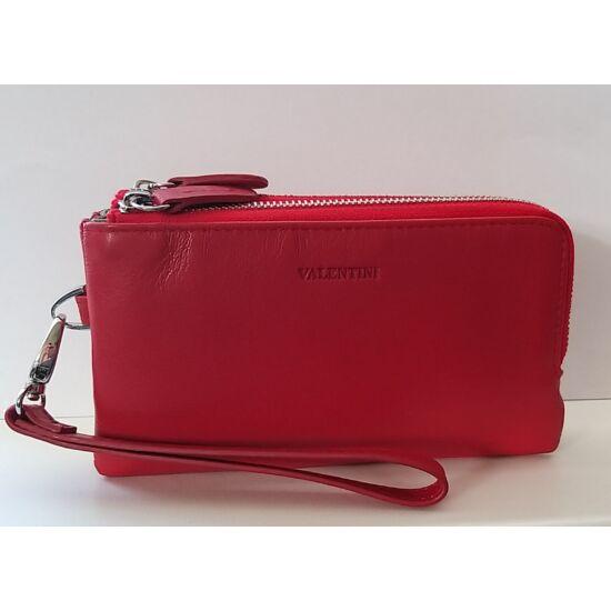 Bőr női pénztárca Valentini, két rekeszes fémcipzáras, piros