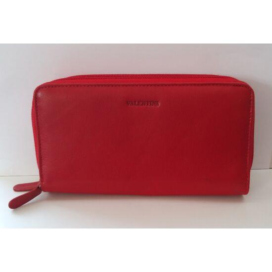 Bőr női pénztárca Valentini, két cipzáras, piros