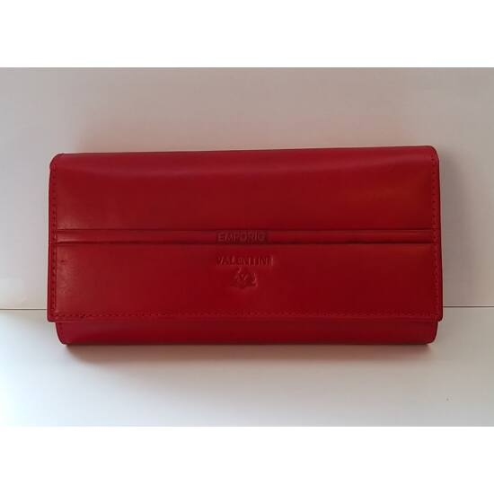 Bőr női pénztárca Emporio Valentini, patentos, belül átkapcsos, piros