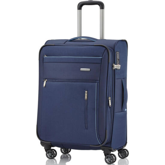 Travelite Capri M 4 kerekű bőrönd, kék