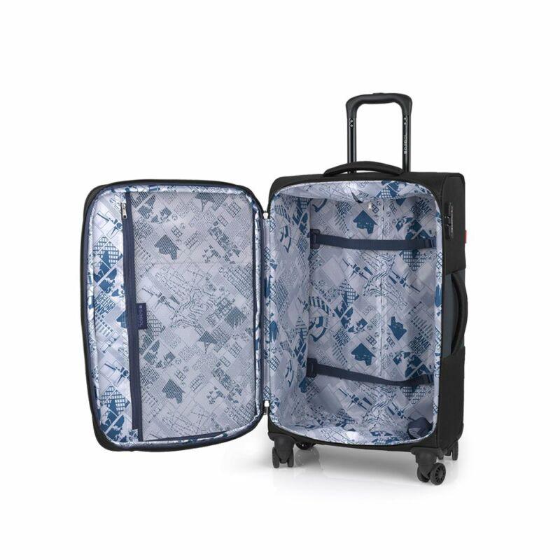 Gabol NORDIC 4-kerekes bővíthető bőrönd M, fekete