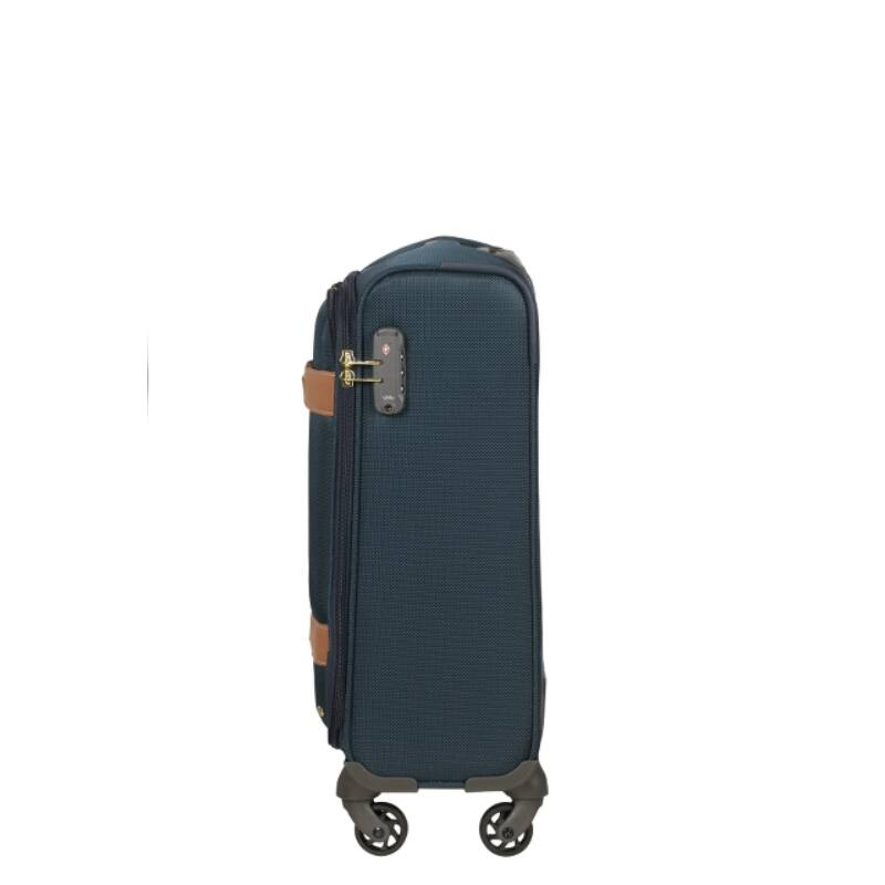 Samsonite CADELL kék-konyak négykerekű bőrönd S