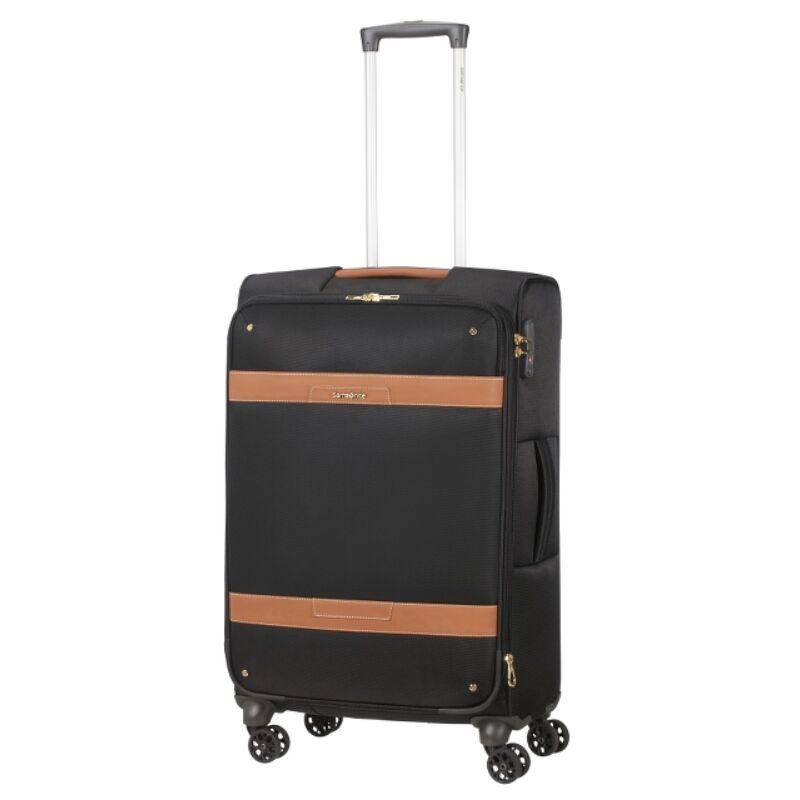 Samsonite CADELL fekete-konyak négykerekű bőrönd M