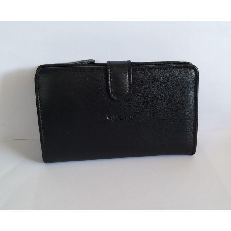Bőr női pénztárca Valentini, átkapcsos, fekete