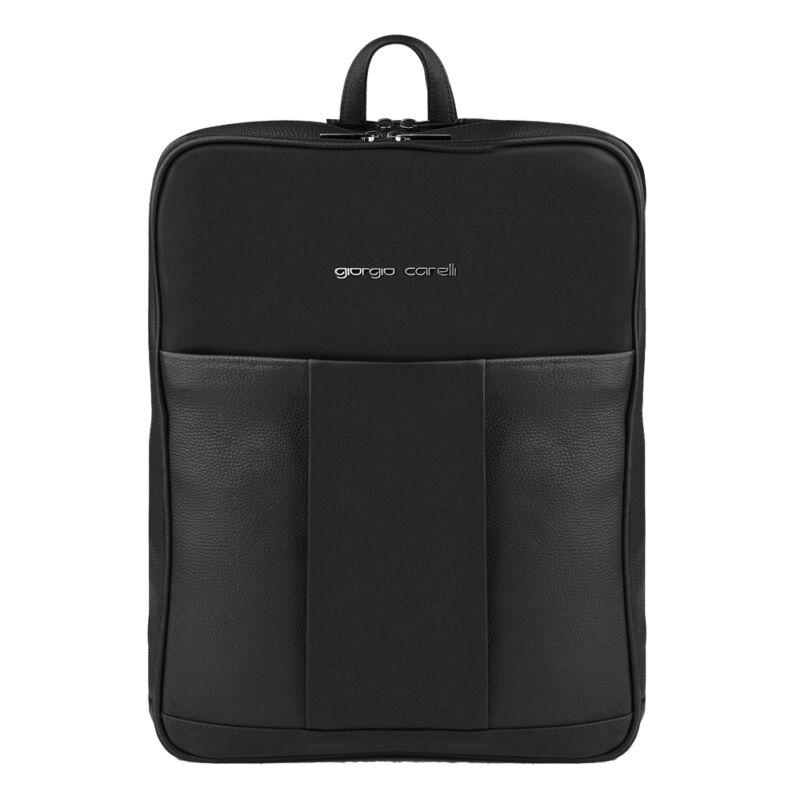 "Giorgio Carelli bőr laptop hátitáska 15"", fekete"