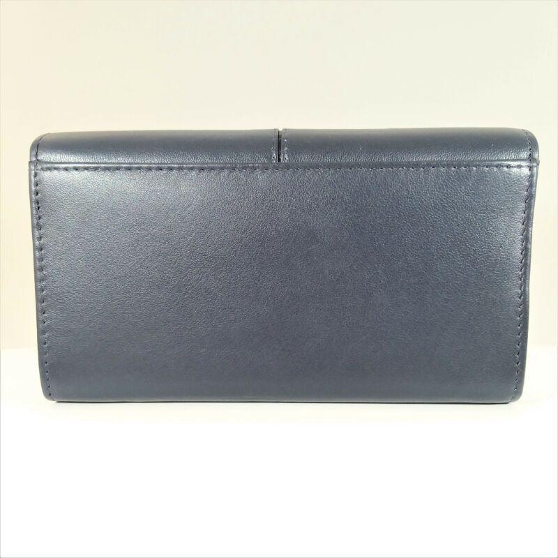 Bőr női pénztárca, patentos, sötétkék