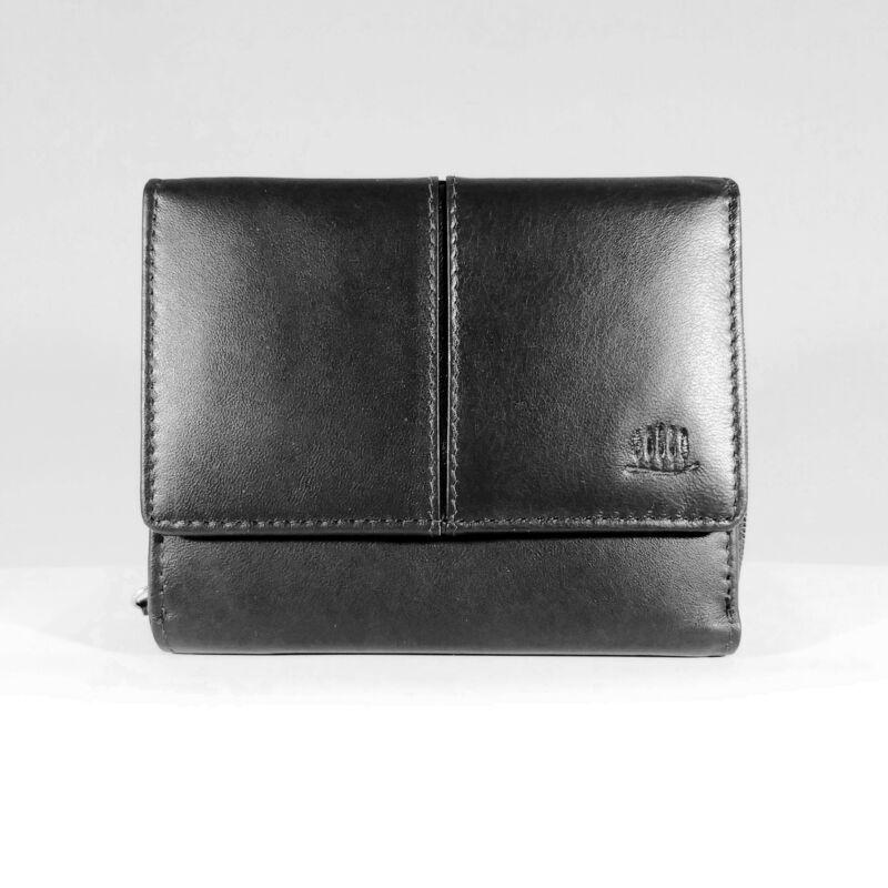 Bőr női pénztárca, patentos, fekete