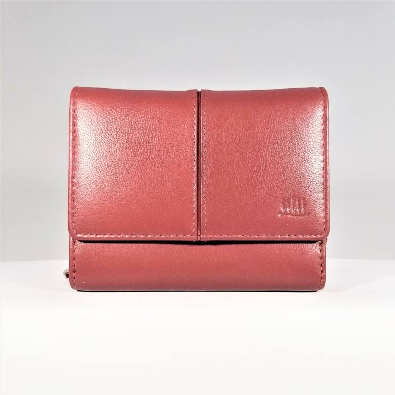 Bőr női pénztárca, patentos, piros