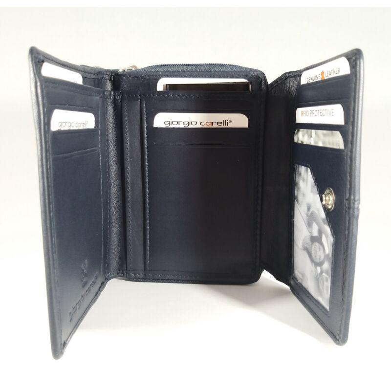 Bőr női pénztárca, patentos, kék