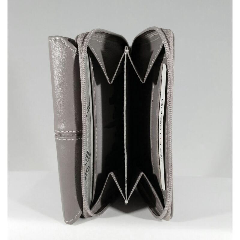 Bőr női pénztárca, patentos, szürke