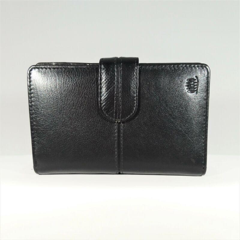 Bőr női pénztárca, átkapcsos, fekete