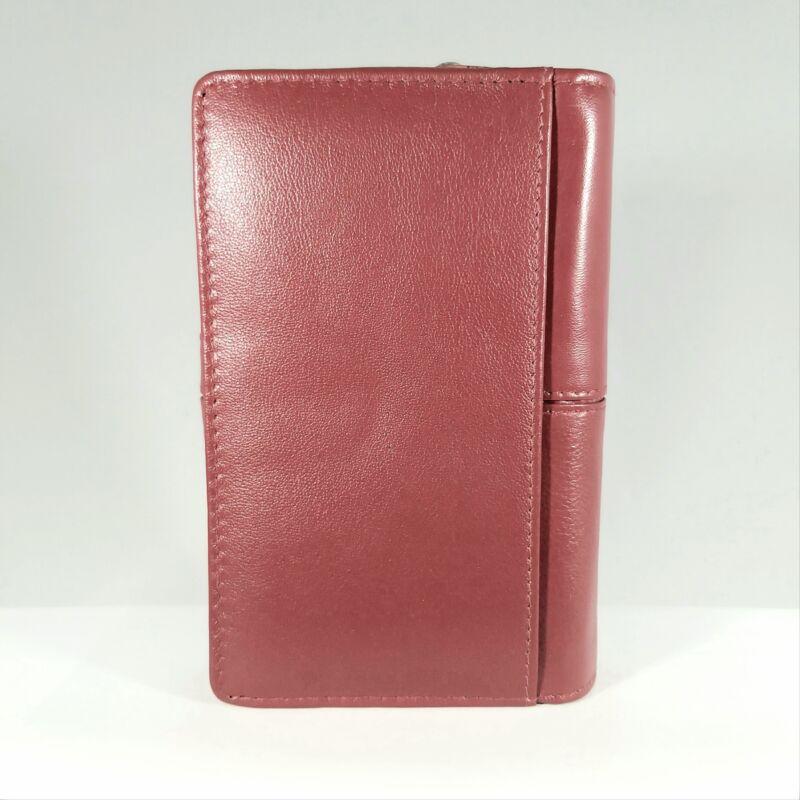 Bőr női pénztárca, átkapcsos, piros