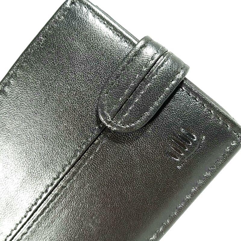 Bőr férfi pénztárca, patentos, fekete