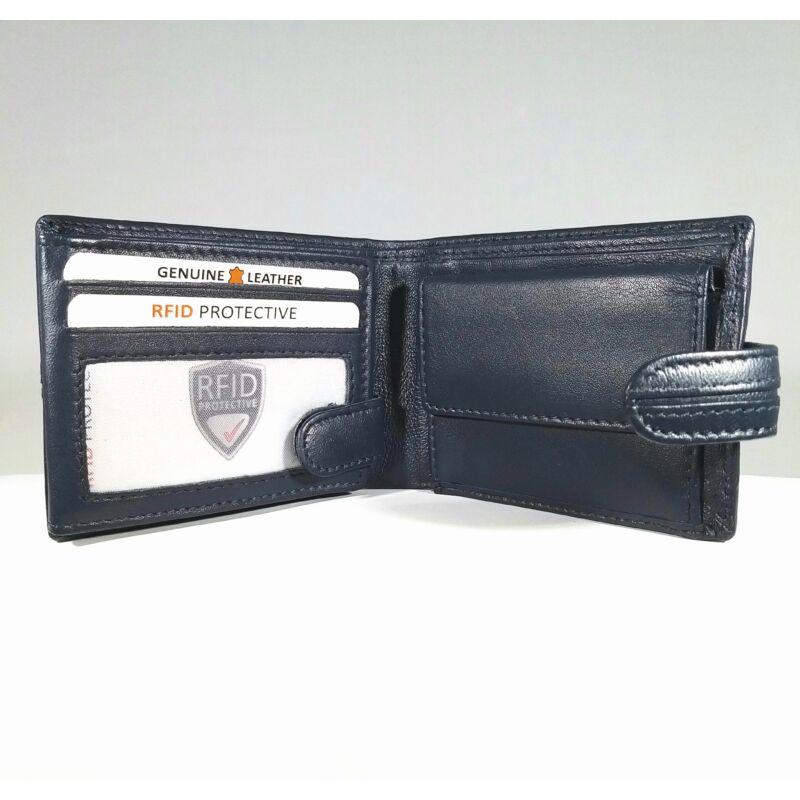 Bőr férfi pénztárca, patentos, sötétkék