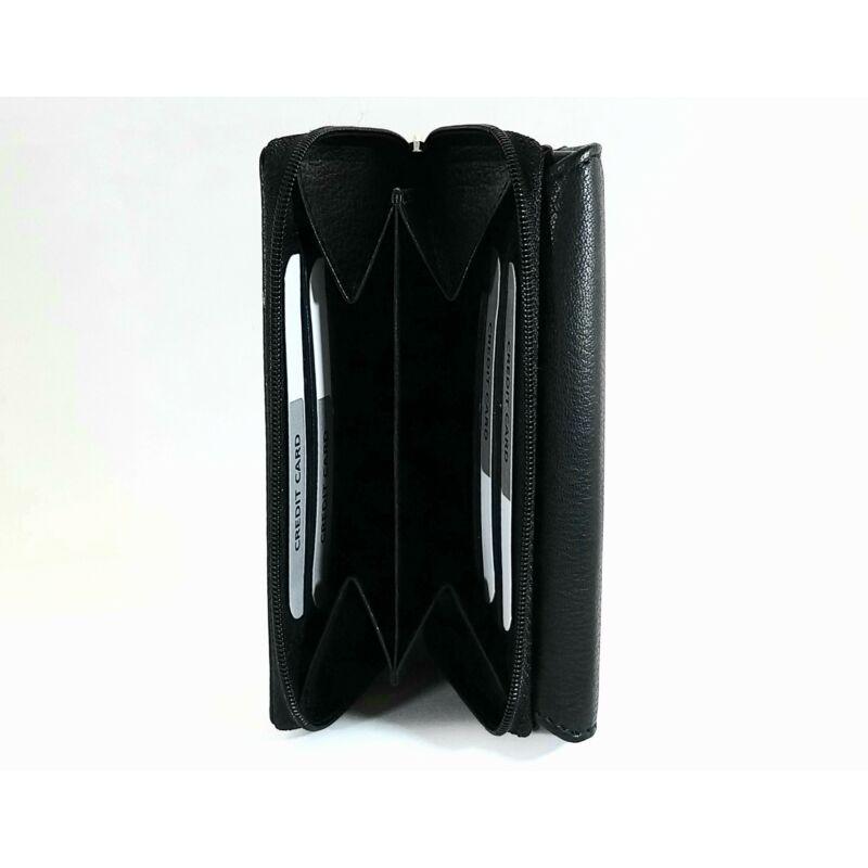 Bőr női pénztárca, patentos, díszcsíkos, fekete