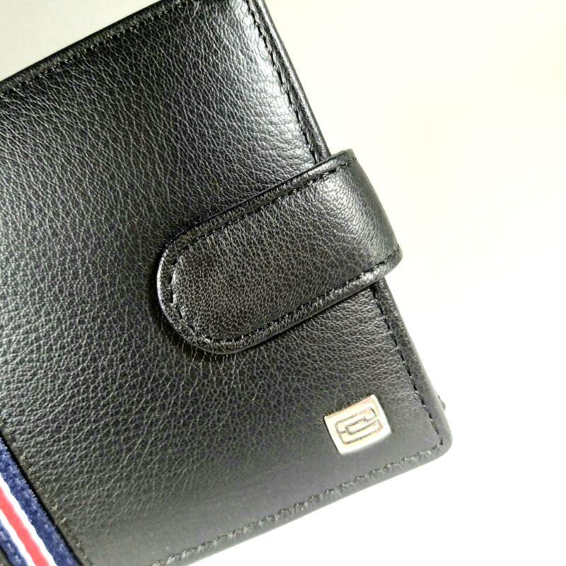 Bőr férfi pénztárca, patentos, díszcsíkos, fekete