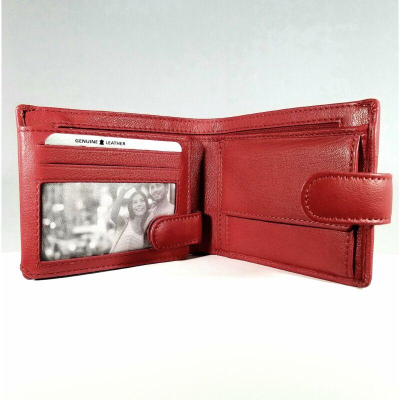 Bőr női pénztárca, patentos, díszcsíkos, piros