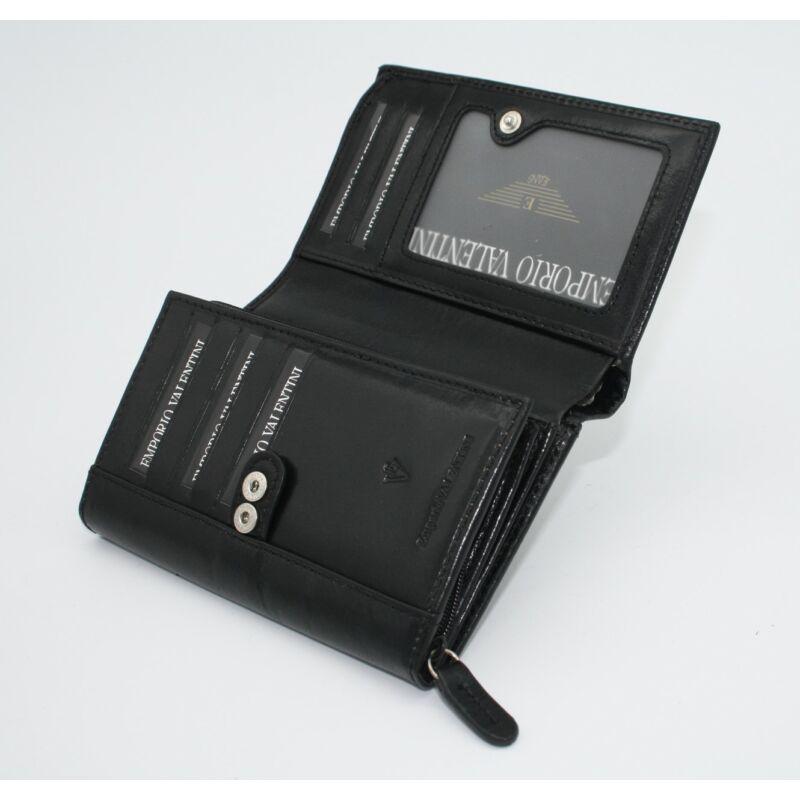 Bőr női pénztárca Emporio Valentini, patentos, fekete