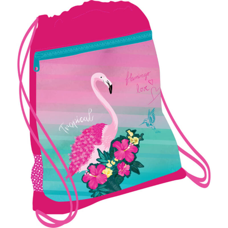 Belmil tornazsák hálós és zsebes, Pink Flamingo