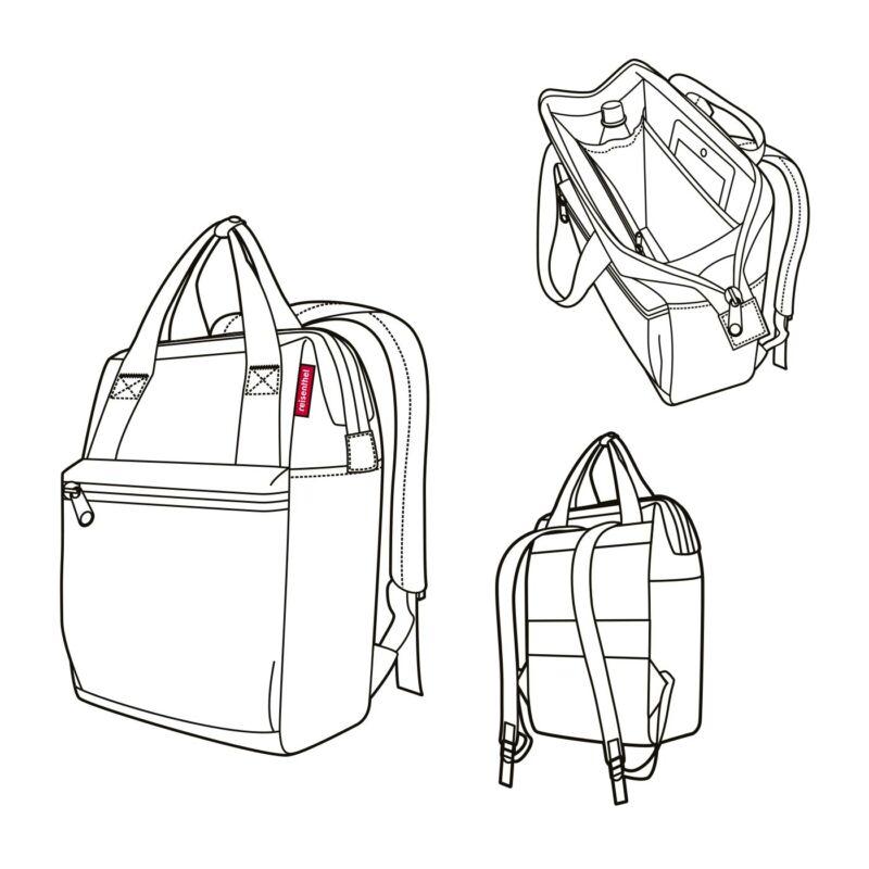 Reisenthel Allrounder R hátizsák, fekete-fehér pötty