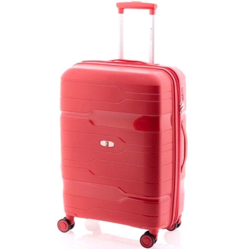 Gladiator BOXING 4-kerekes keményfedeles bővíthető bőrönd M, piros