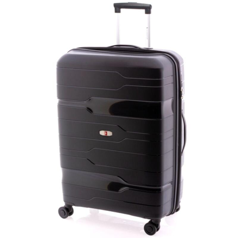 Gladiator BOXING 4-kerekes keményfedeles bővíthető bőrönd L, fekete