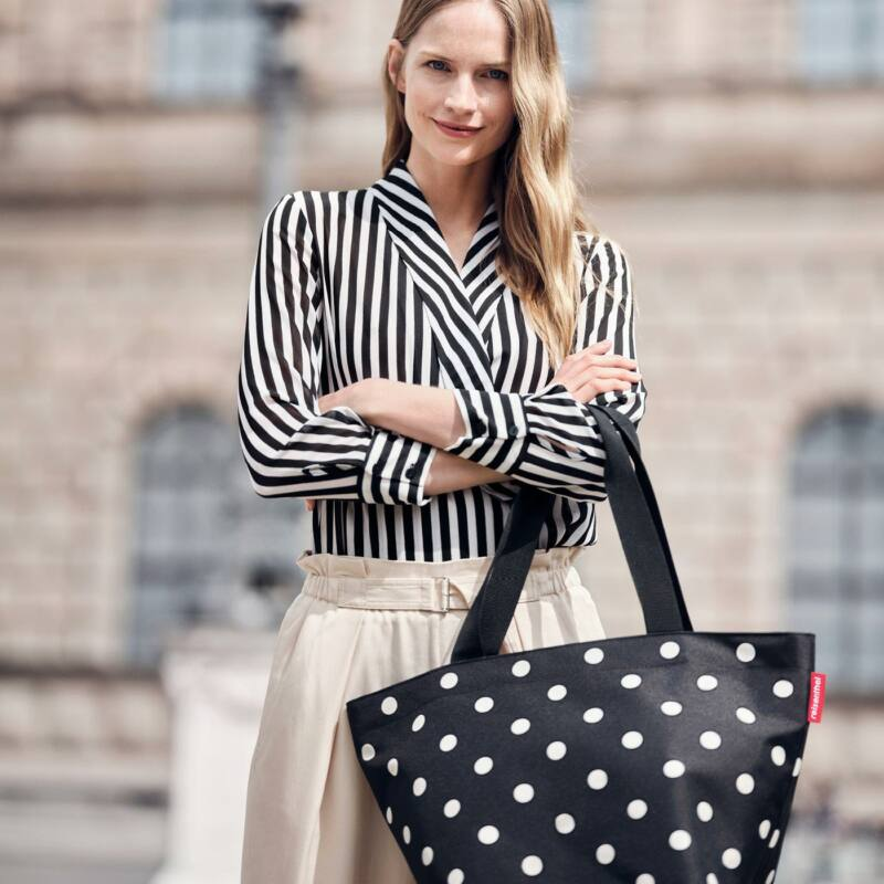 Reisenthel Shopper M, fekete-fehér pötty
