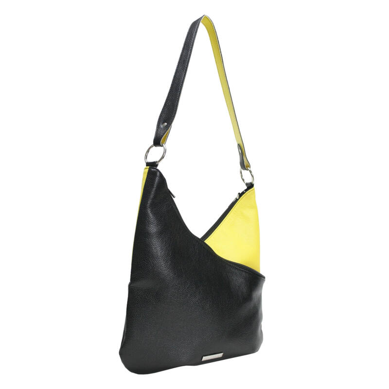 Ága Hengl Banán női bőr válltáska, fekete-sárga