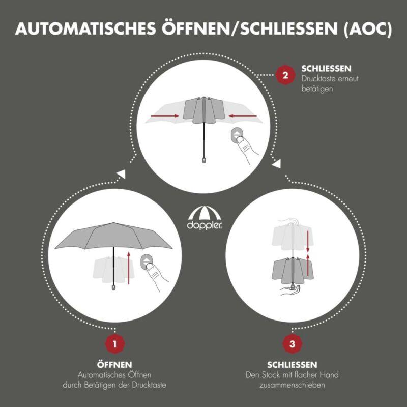 DOPPLER Magic XM Business automata férfi esernyő, fekete alapon csíkos, széles