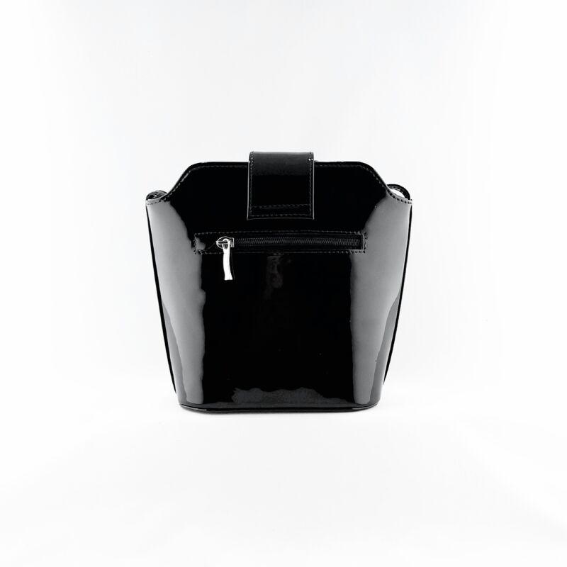 Ága Hengl Hanga női bőr alkalmi táska, fekete lakk