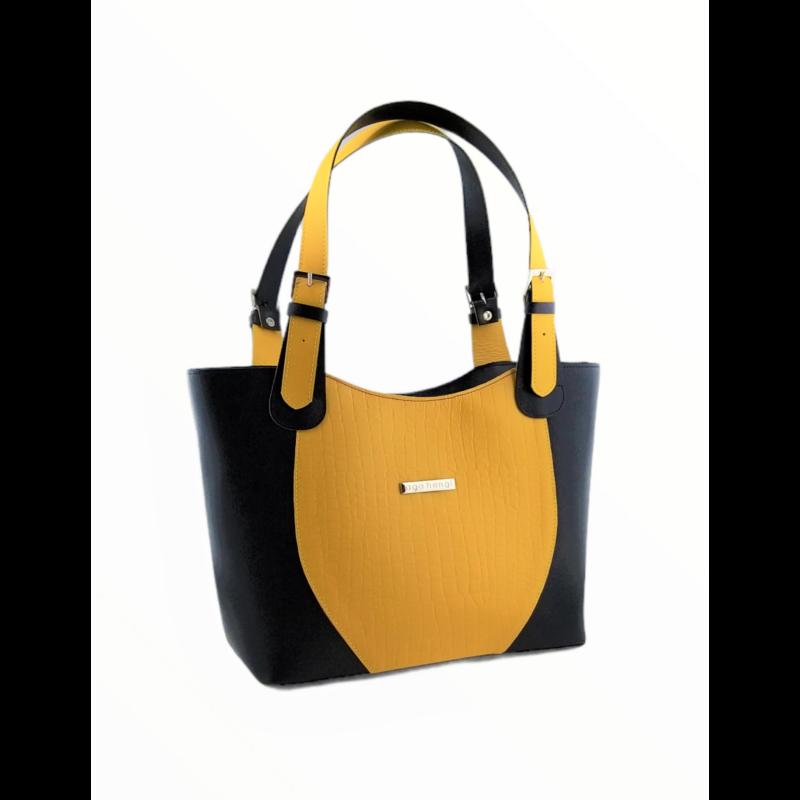 Ága Hengl Korall S Extra női bőr válltáska, sárga-fekete