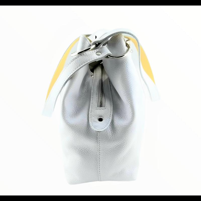 Ága Hengl Mikulásvirág női bőr válltáska, fehér-sárga