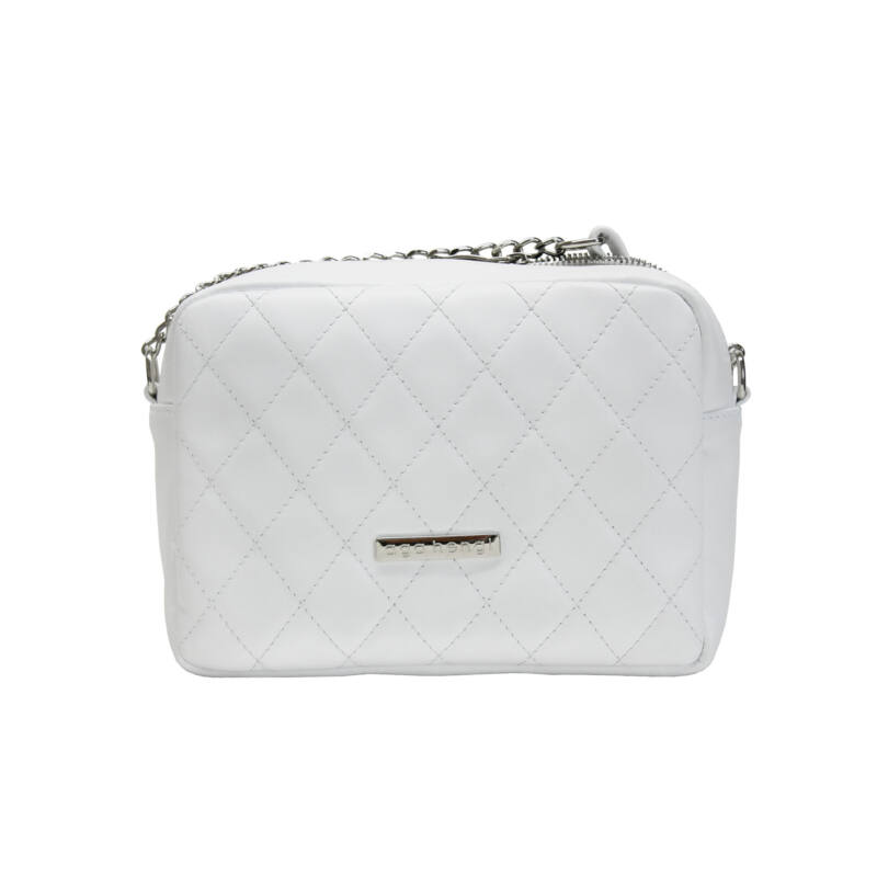 Ága Hengl Pipitér st. női bőr táska, fehér steppelt