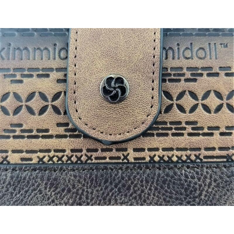 Kimmidoll, nagy pénztárca, cipzáras, patentos, barna
