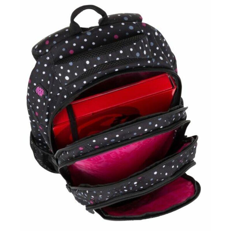 Bagmaster tinédzser háizsák SUPERNOVA, fekete-szürke-pink pöttyös